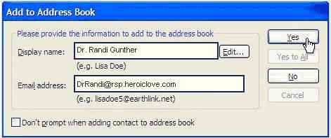 Add to Earthlink Address Book