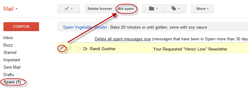 Mark 'Not Spam' in Gmail