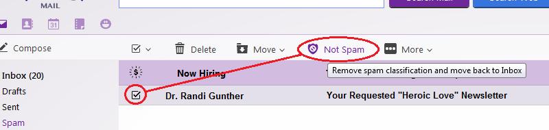 Mark 'Not Spam' in Yahoo