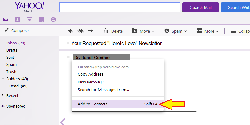 Add to Yahoo Address Book